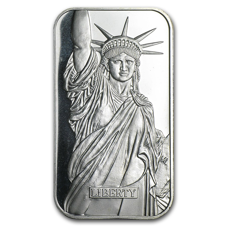 1 Oz Silver Bar Engelhard Statue Of Liberty Mtb 1 Oz