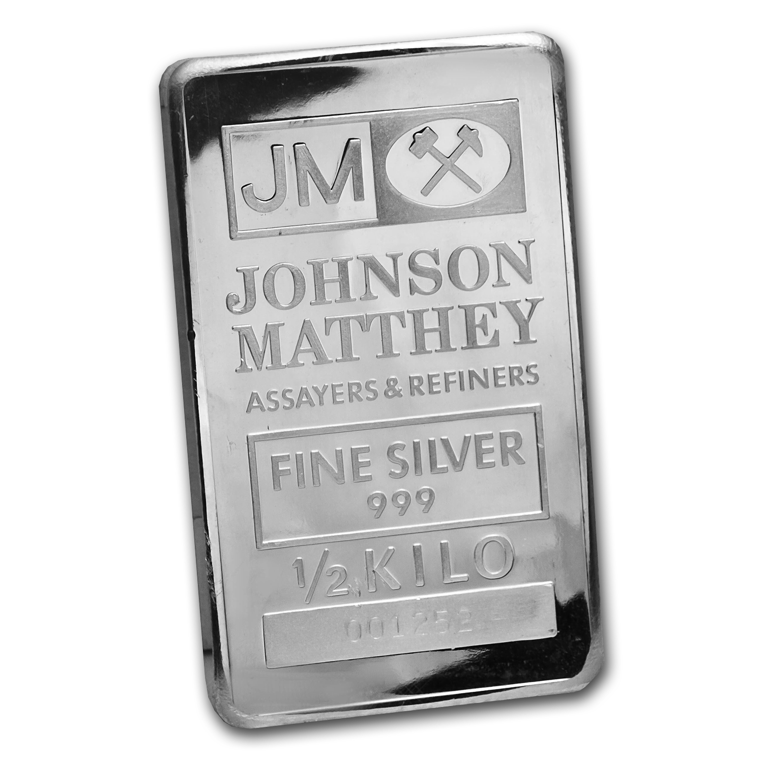 1/2 kilo Silver Bar - Johnson Matthey (Pressed)