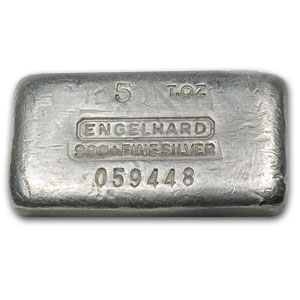 5 oz Silver Bars - Engelhard (Poured/1st Generation)