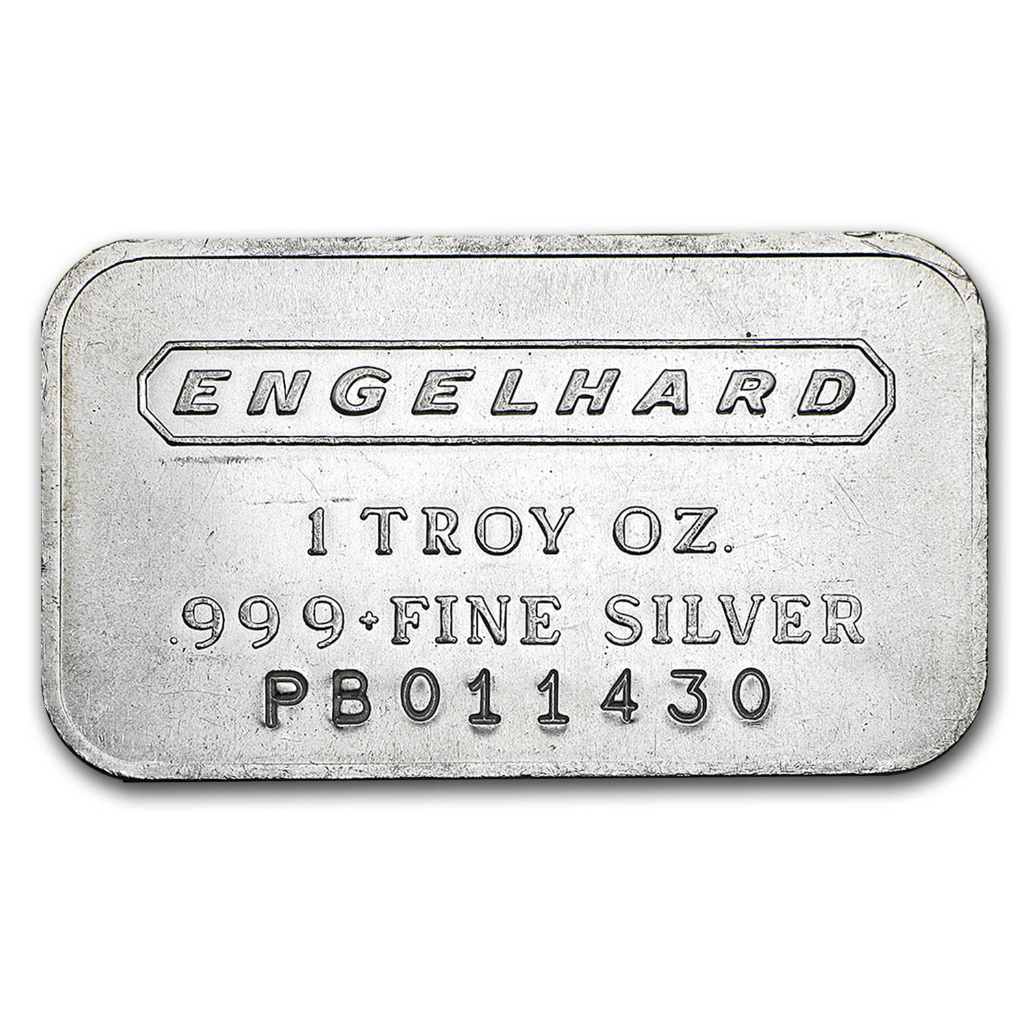 1 oz Silver Bar - Engelhard (Wide/Logo/Frosted/1980/6-digit)