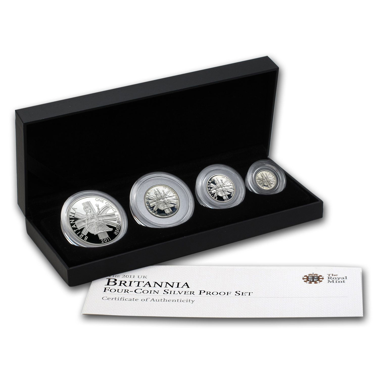 2011 GB 4-Coin Silver Britannia Proof Set (w/Box & COA)