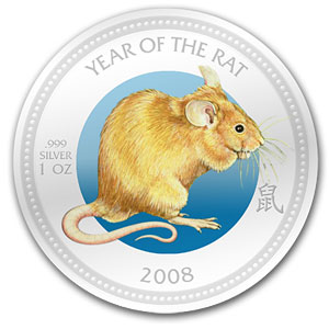 2008 Pitcairn Island 1 oz Silver $2 Lunar Rat (w/Box)