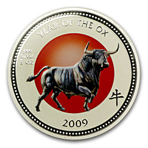 2009 Pitcairn Island 1 oz Silver $2 Lunar Ox (Colorized)