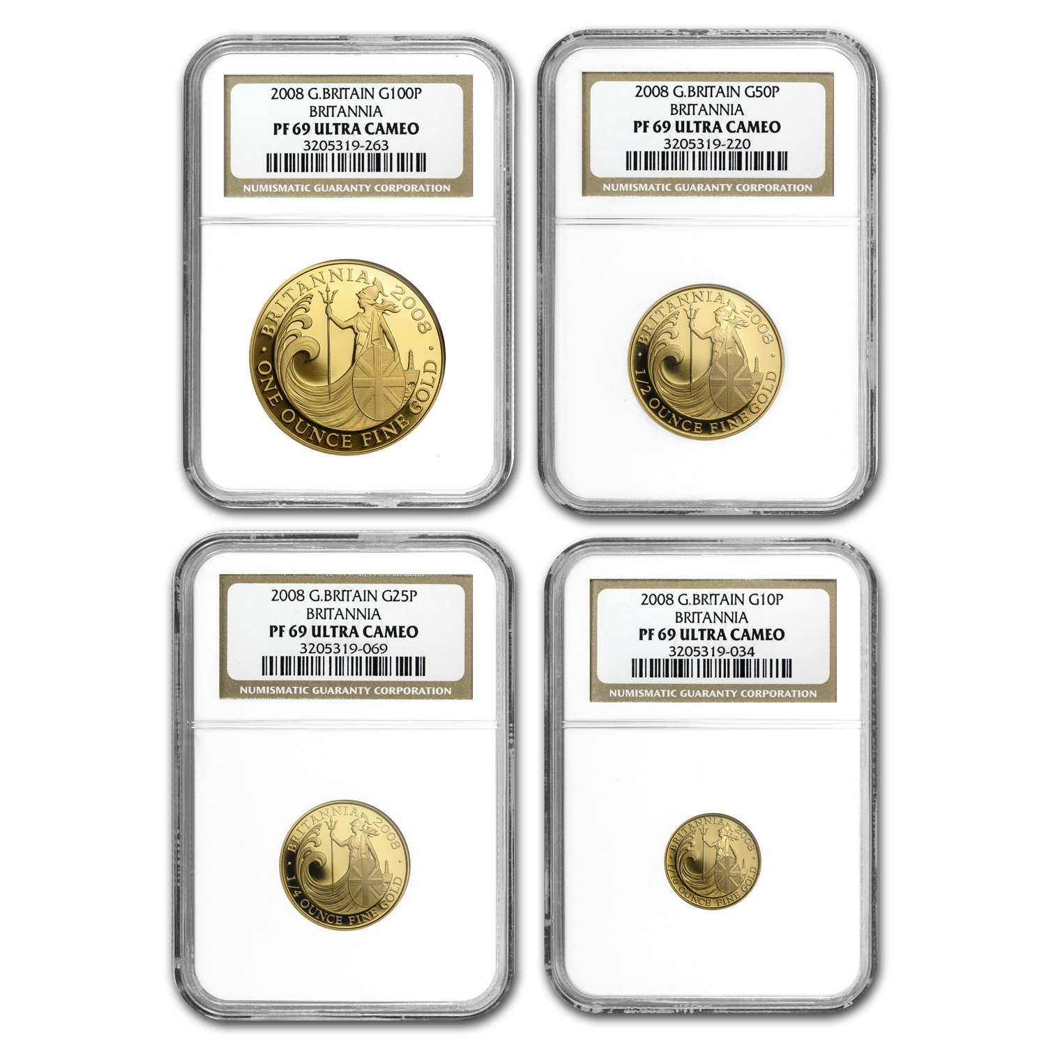 2008 4-Coin Gold Britannia Proof Set PF-69 NGC