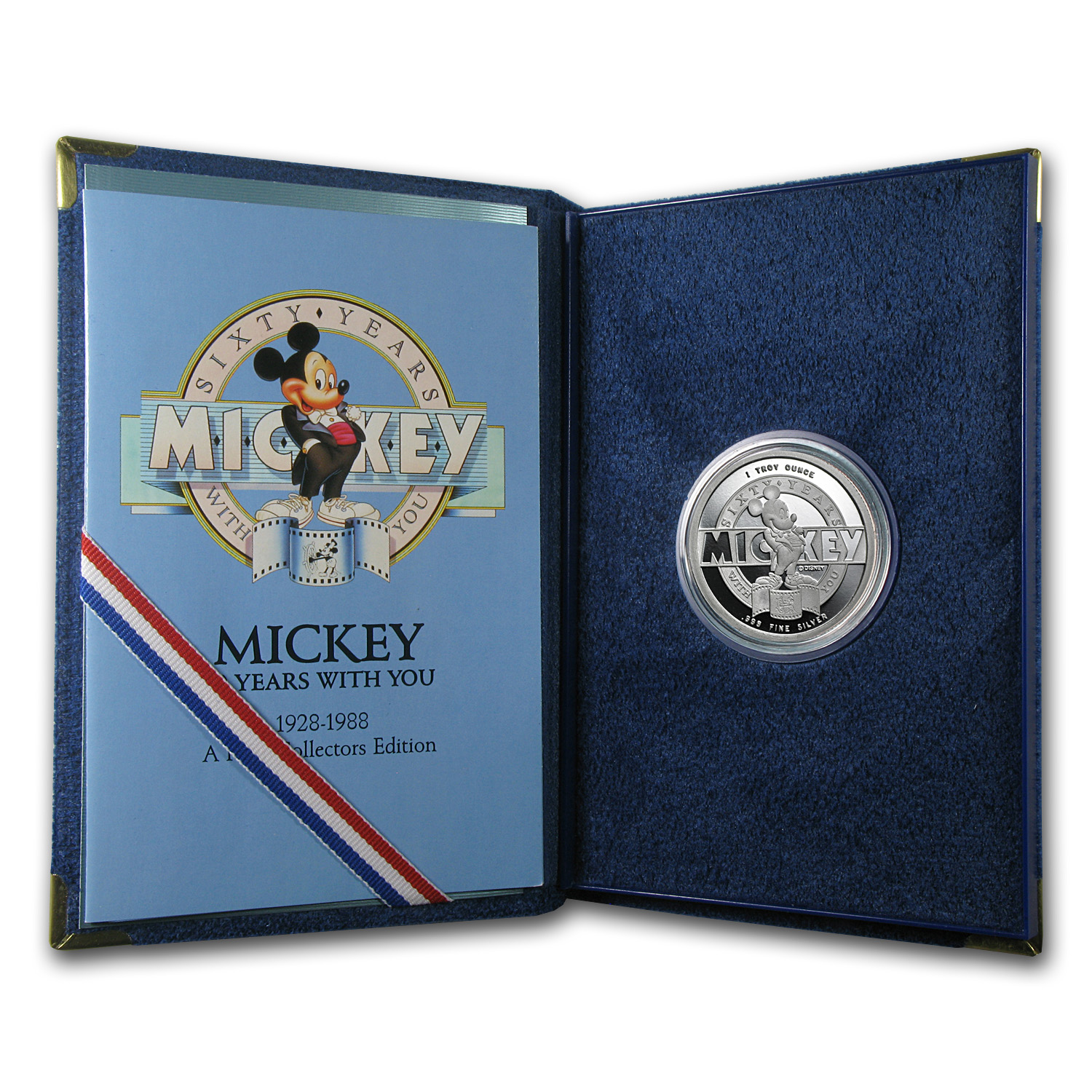 1 oz Silver Round - Mickey Mouse 60th Anniv of Steamboat Willie