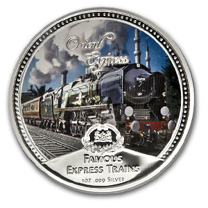 2010 4 x 1 oz Silver Niue $2 Famous Express Trains Set (W/Box)