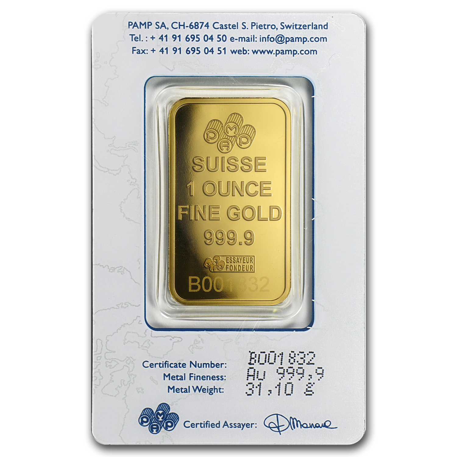 1 oz Gold Bars - Pamp Suisse (Rose, in Assay)