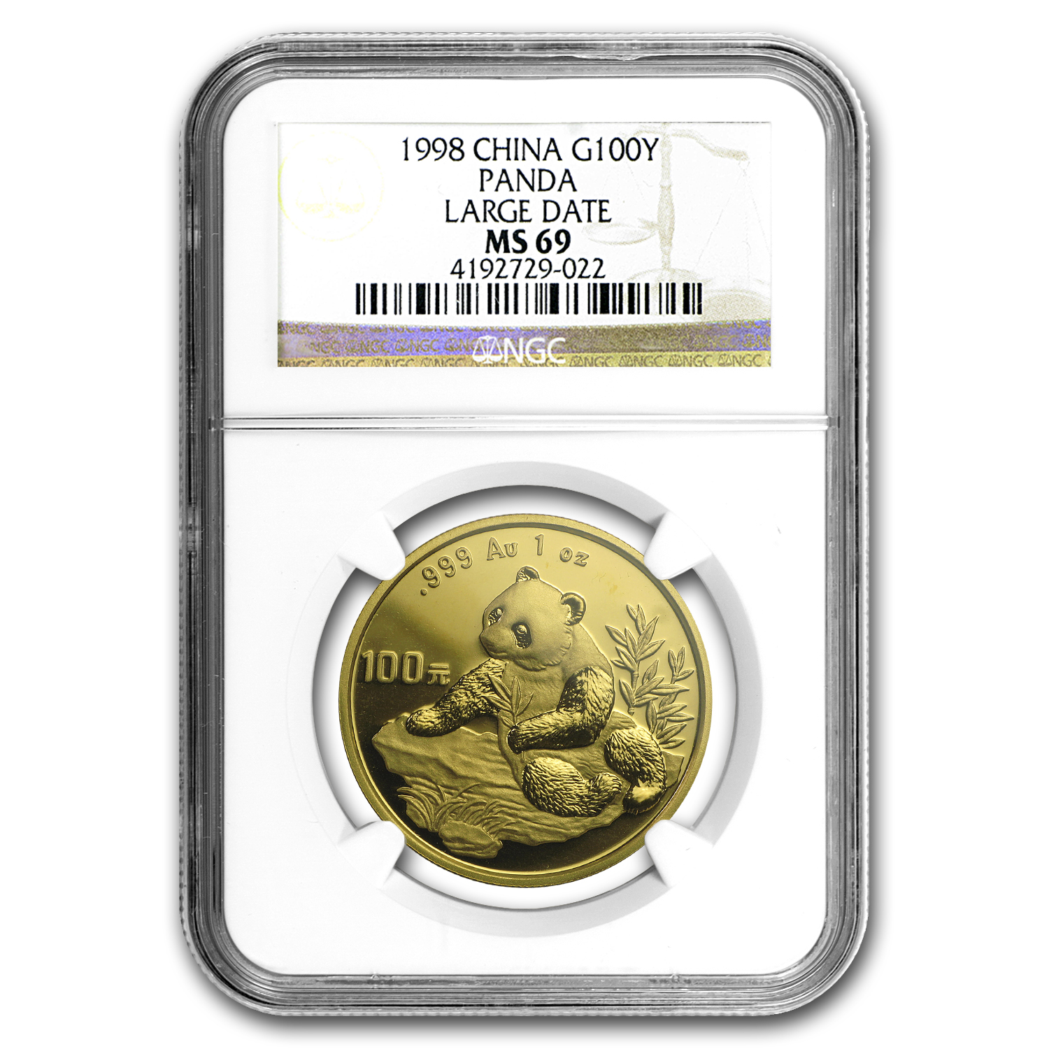 1998 1 oz Gold Chinese Panda Large Date MS-69 NGC