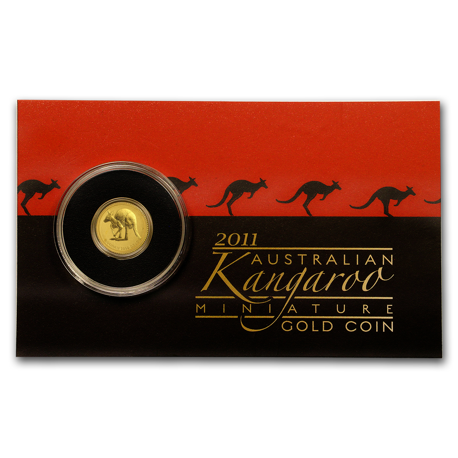2011 Australia 1/2 Gram Gold Kangaroo Mini Roo BU (On Gift Card)