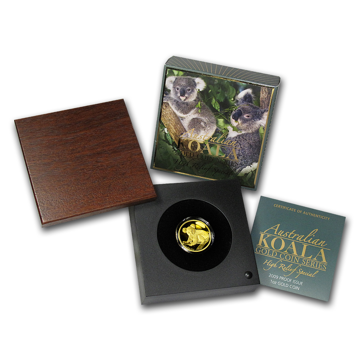 2009-P 1 oz Australian Gold Koala (High Relief, w/Box & COA)