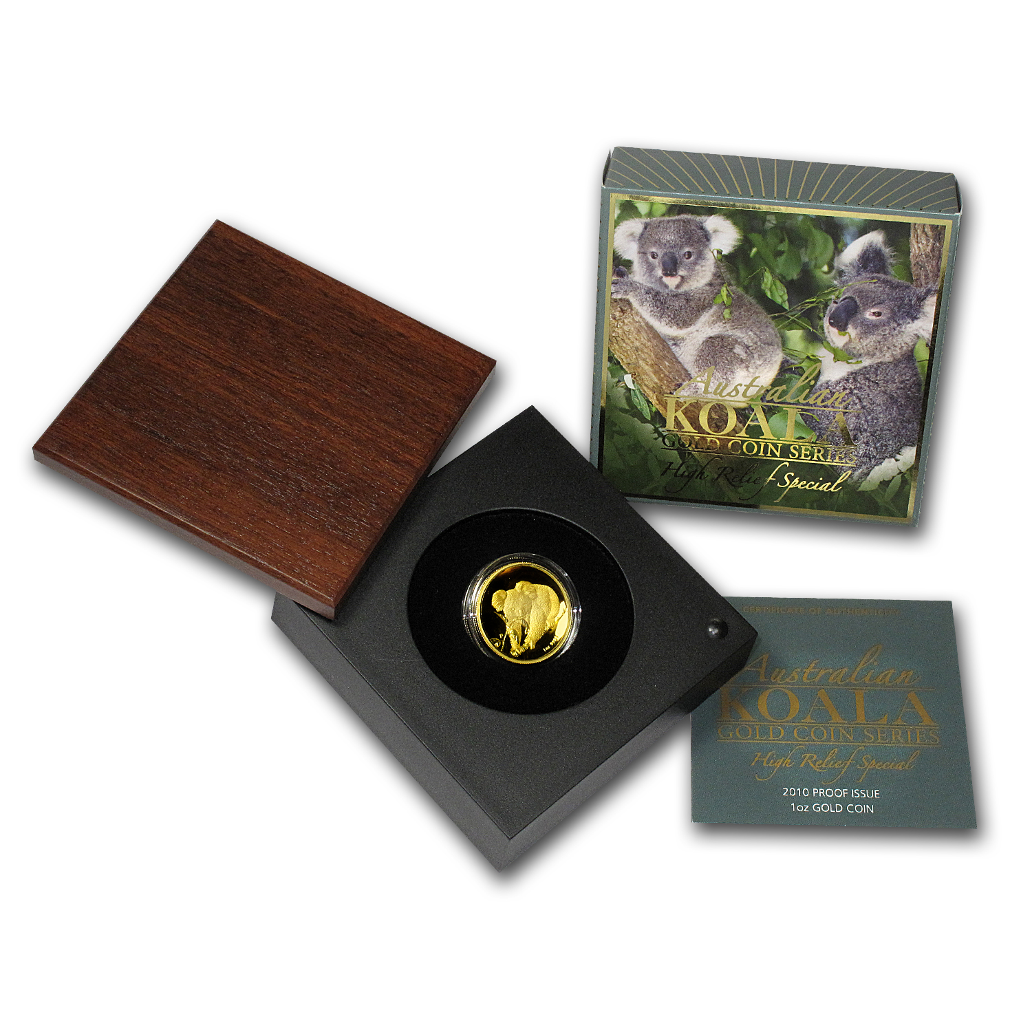 2010-P 1 oz Australian Gold Koala Proof (High Relief, Box & COA)