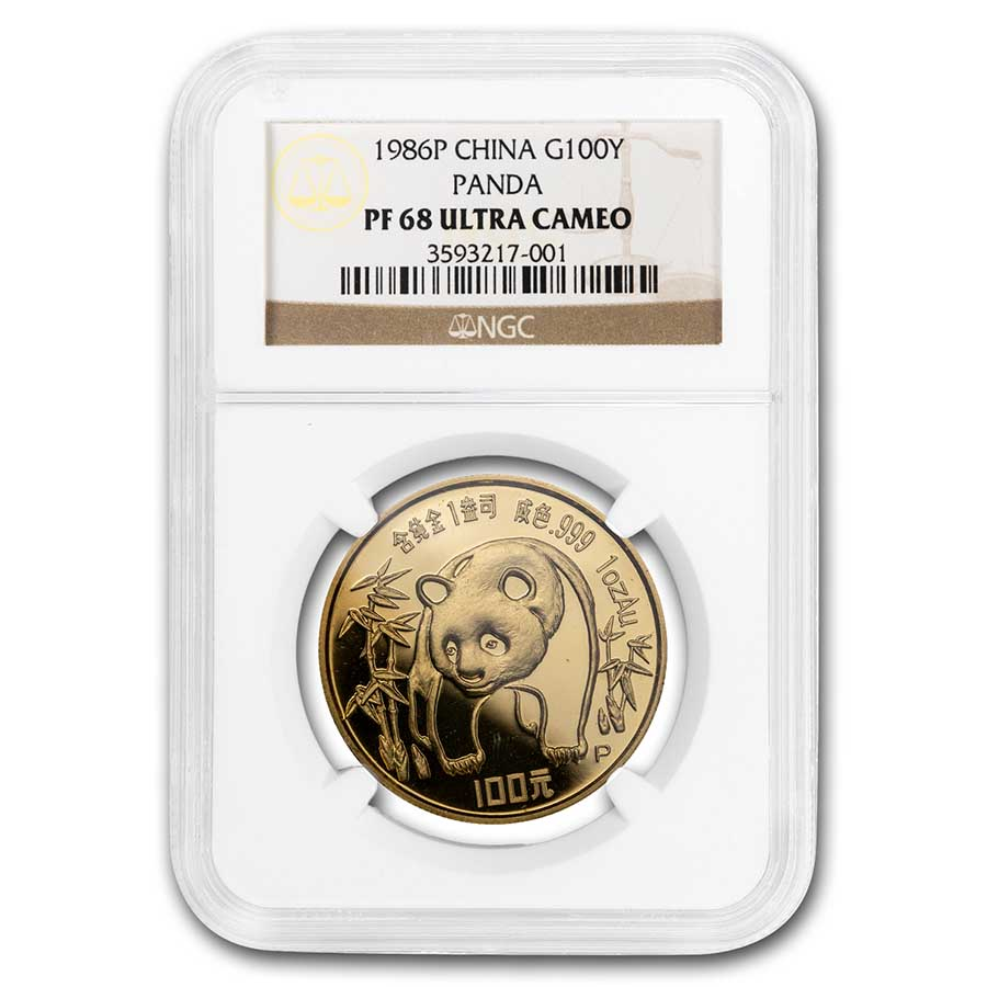 1986 (1 oz Proof) Gold Chinese Pandas - PF-68 UCAM NGC