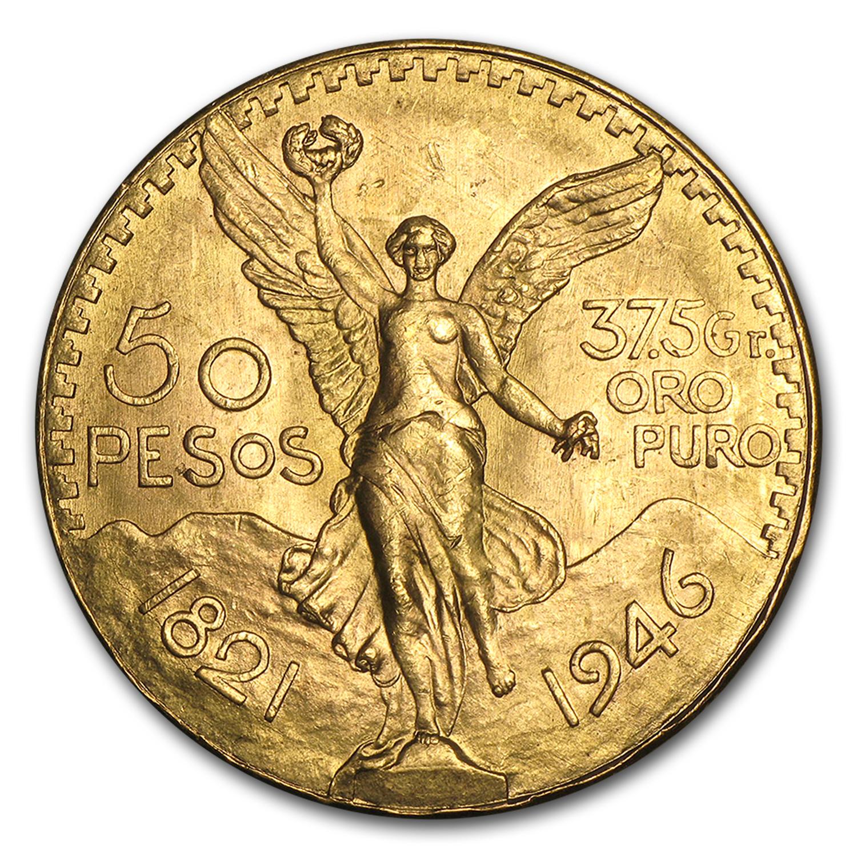 1946 Mexico Gold 50 Pesos Bu Gold 50 Pesos 1947 Amp Prior