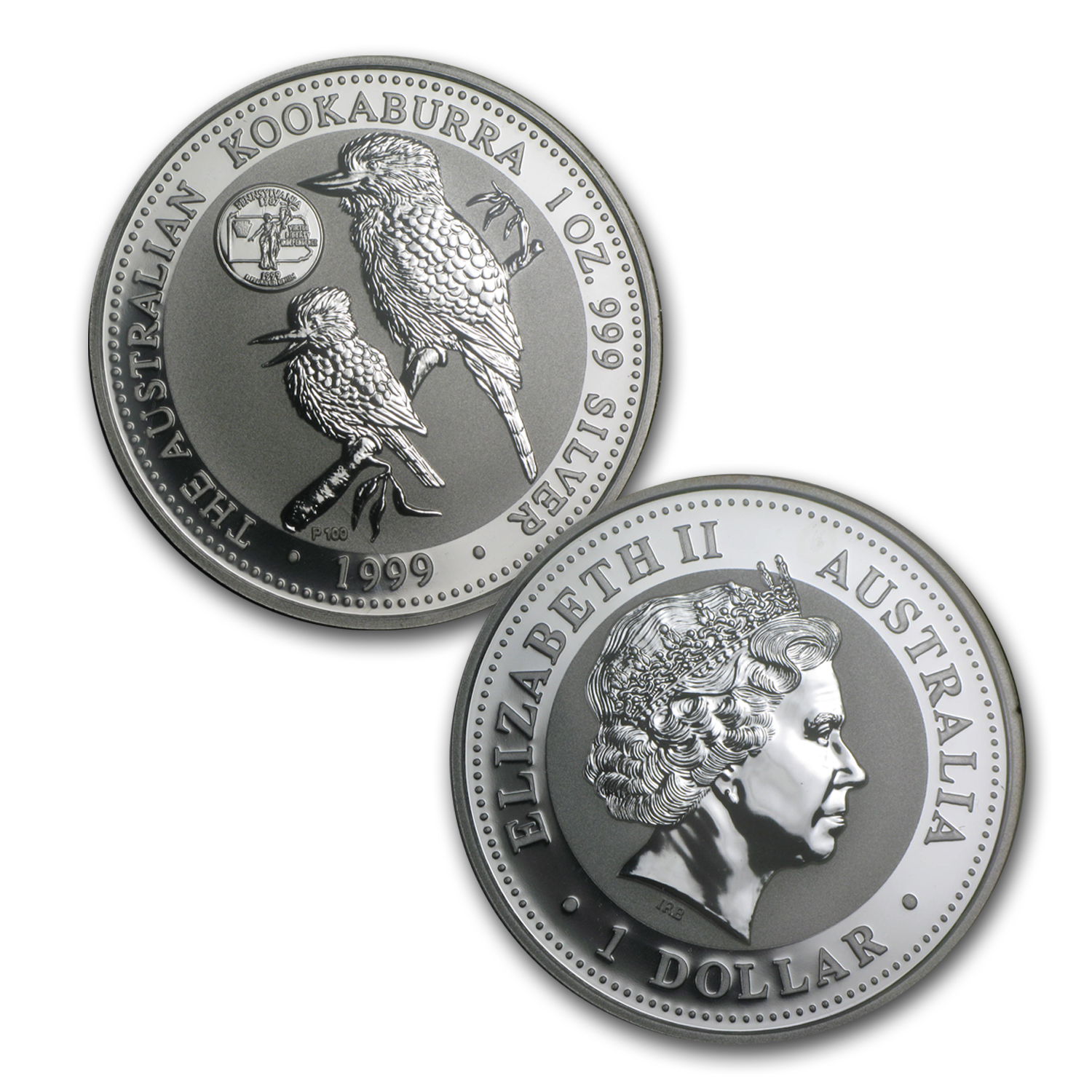 1999 2-Piece 1 oz Silver Kookaburra & Pennsylvania Quarter Set BU