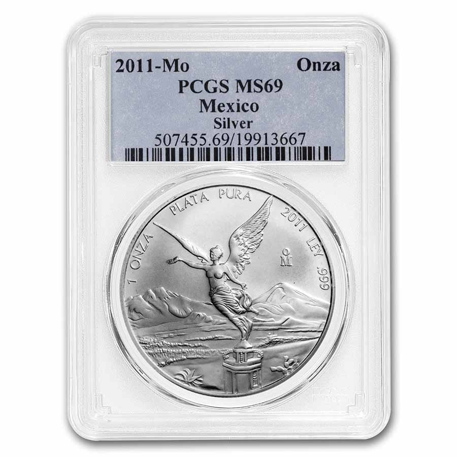 2011 1 oz Silver Mexican Libertad MS-69 PCGS