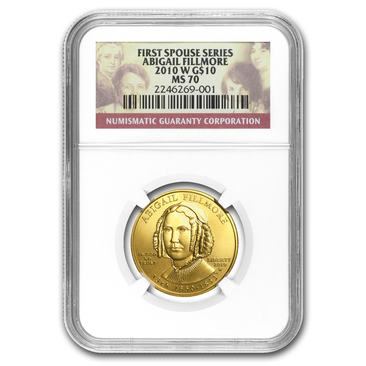 2010-W 1/2 oz Gold Abigail Fillmore MS-70 NGC