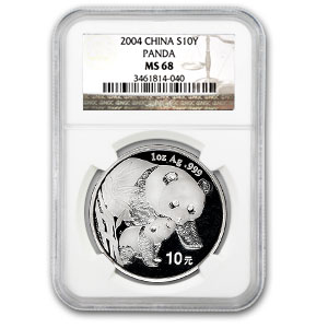 2004 China 1 oz Silver Panda MS-68 NGC