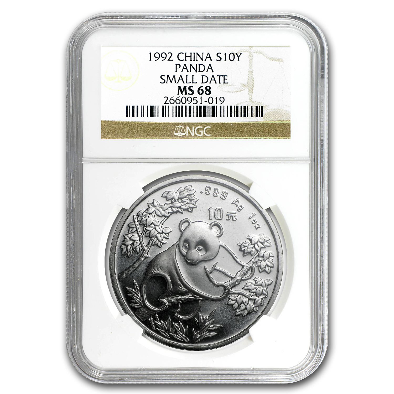 1992 Silver Chinese Panda 1 oz - MS-68 NGC - (Small Date)