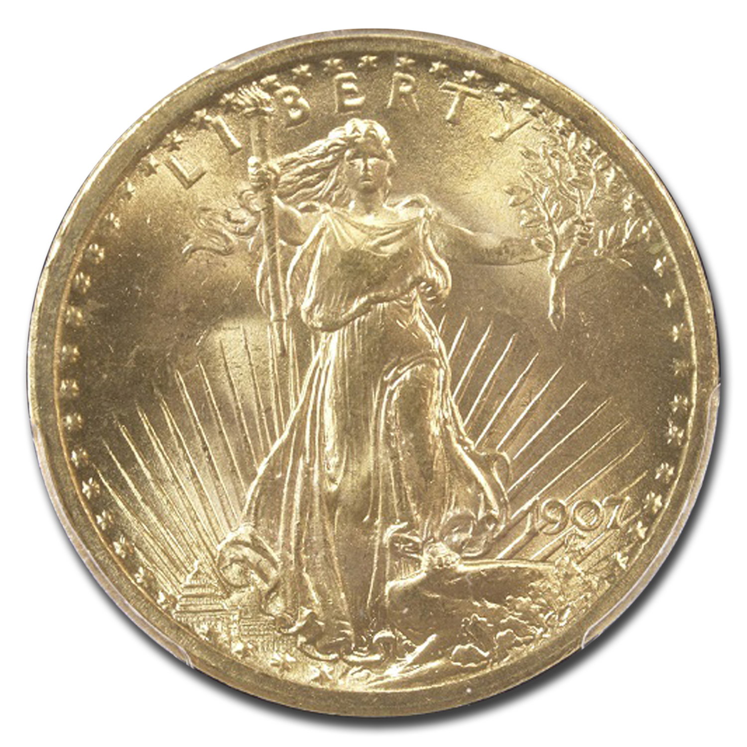 1907 $20 St. Gaudens Gold Double Eagle - MS-66 PCGS