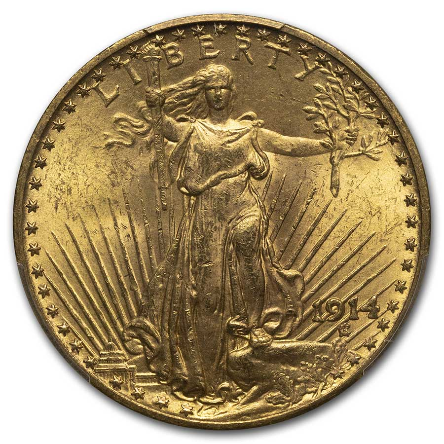 1914 $20 St. Gaudens Gold Double Eagle - MS-63 PCGS