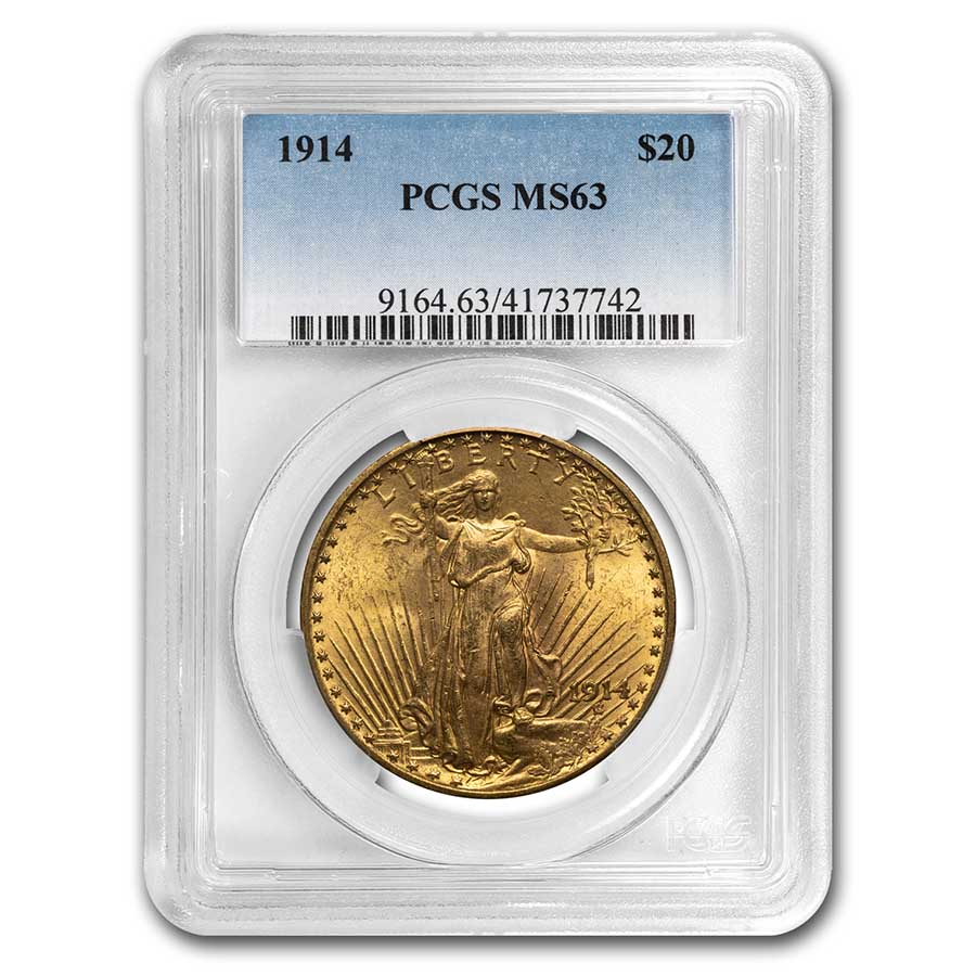 1914 $20 St. Gaudens Gold Double Eagle MS-63 PCGS
