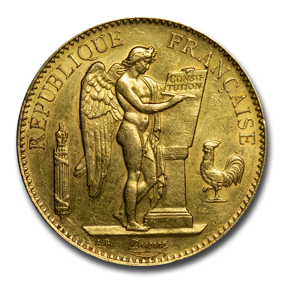 1878-1914 France Gold 100 Francs Lucky Angel AU