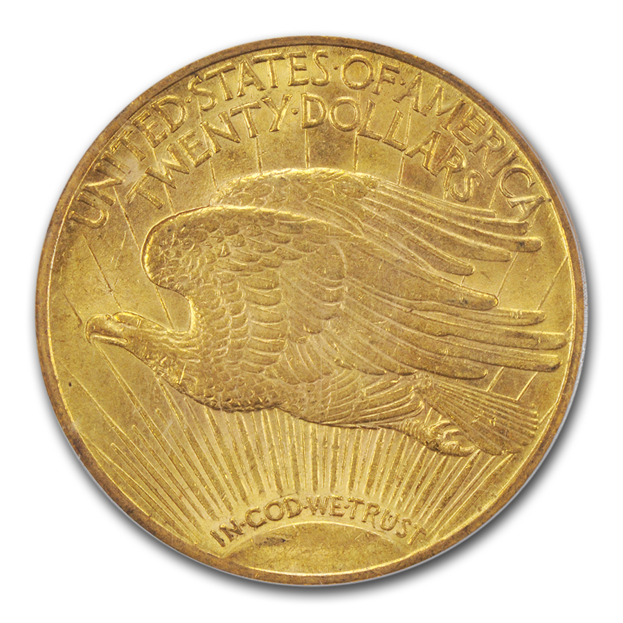 1909/8 $20 St. Gaudens Gold Double Eagle Overdate MS-62 PCGS