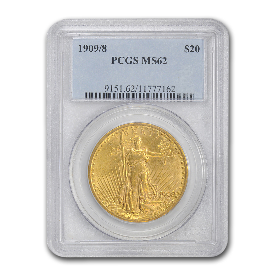 1909/8 $20 St. Gaudens Gold Double Eagle - Overdate - MS-62 PCGS