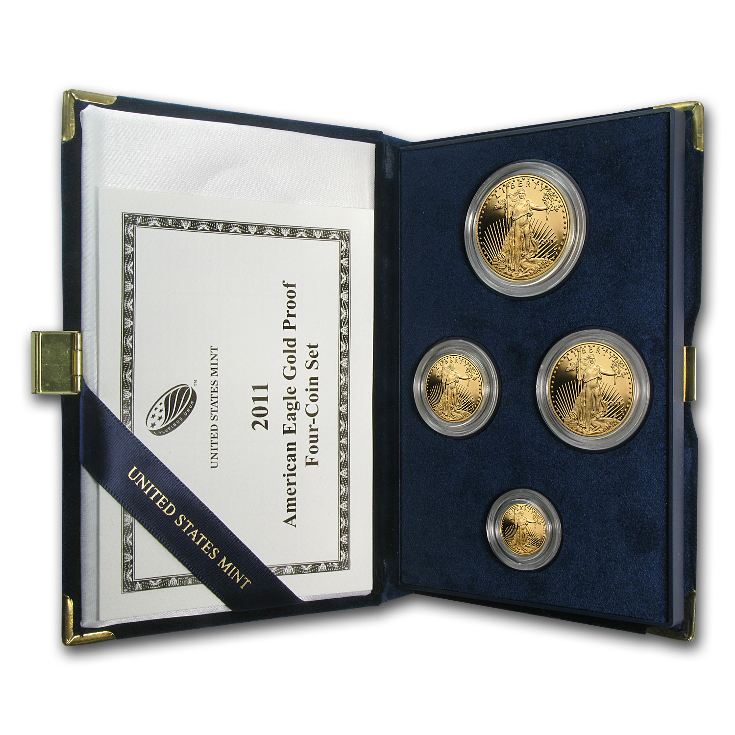 2011-W 4-Coin Proof Gold American Eagle Set (w/Box & COA)
