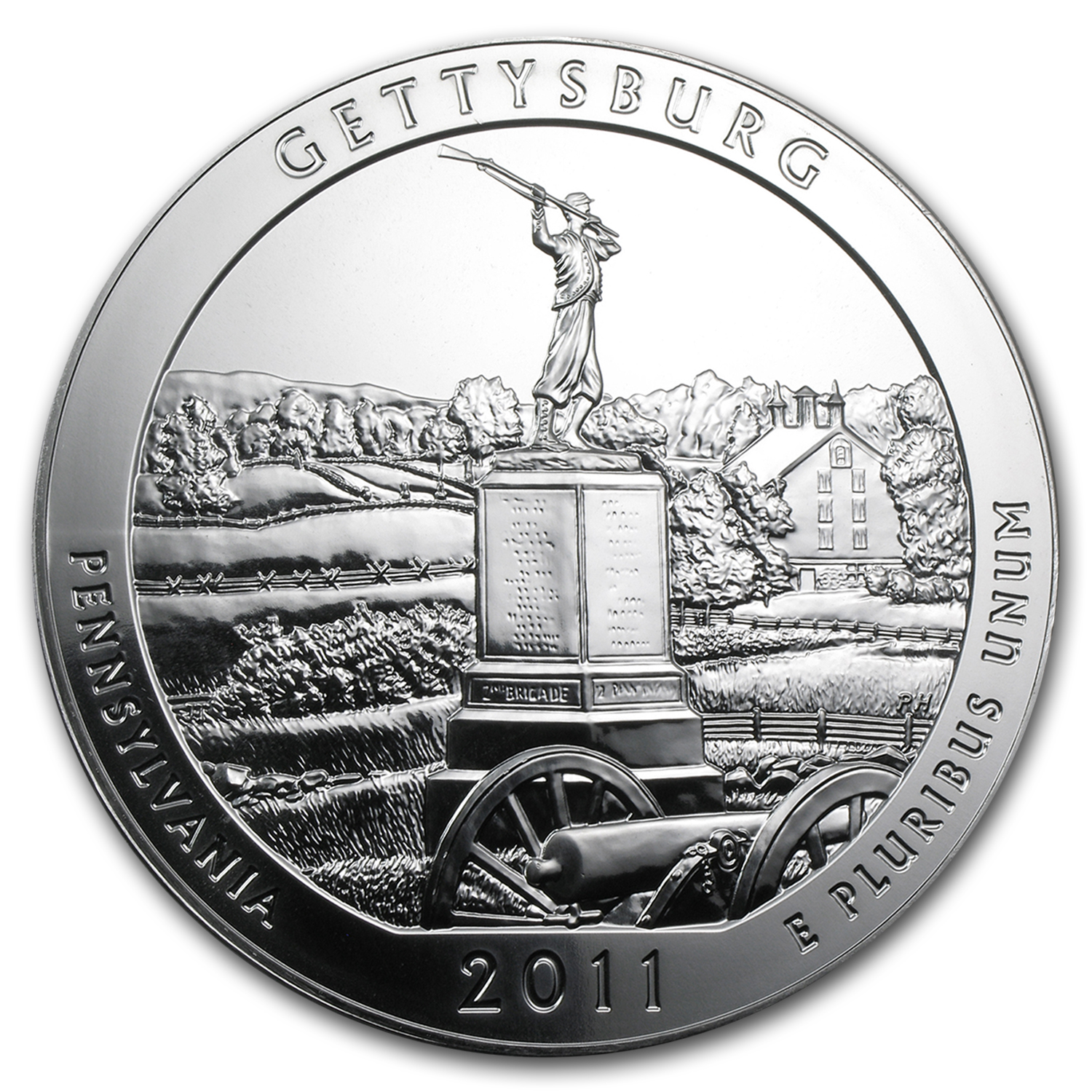 2011 5 oz Silver ATB Gettysburg, PA (10-Coin MintDirect® Tube)