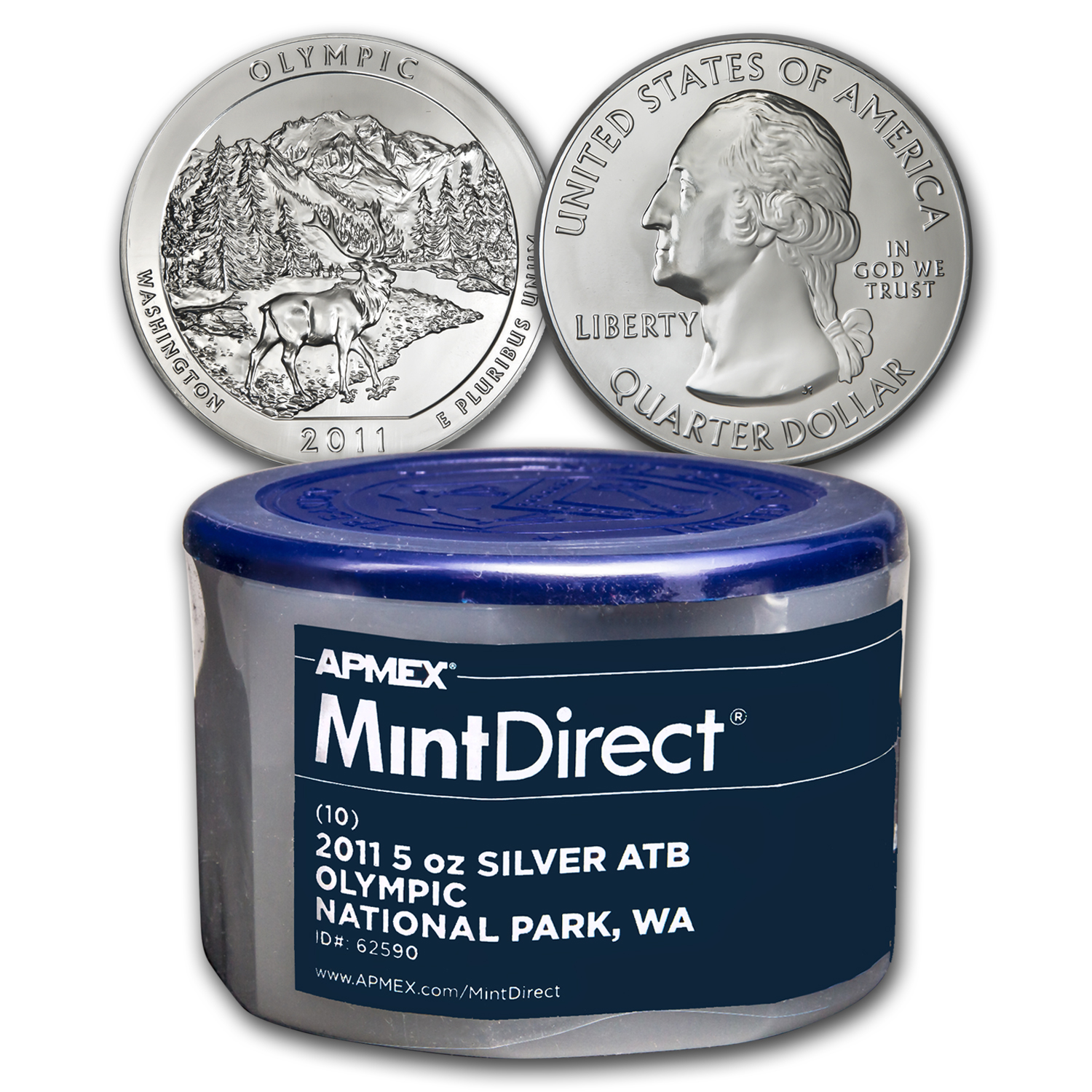 2011 5 oz Silver ATB Olympic, WA (10-Coin MintDirect® Tube)
