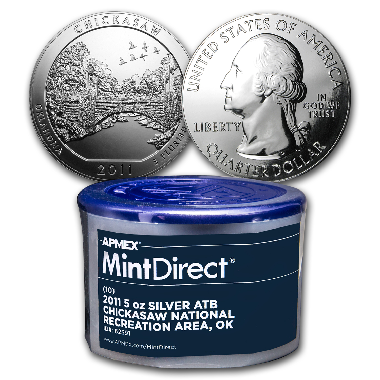 2011 5 oz Silver ATB Chickasaw, OK (10-Coin MintDirect® Tube)