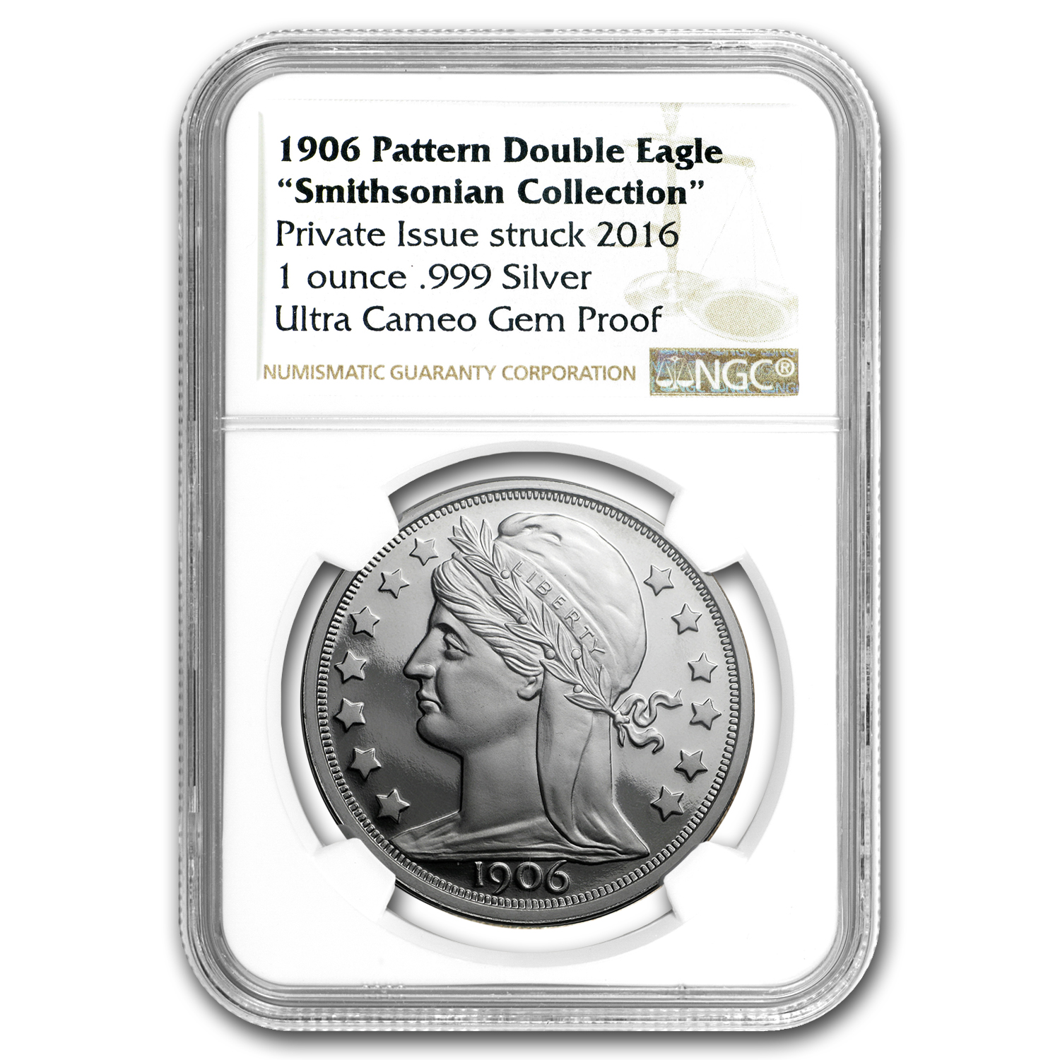 1 oz Silver Round - 1906 Pattern Double Eagle Proof NGC