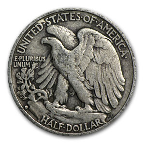 1933-S Walking Liberty Halves 20-Coin Roll Avg Circ