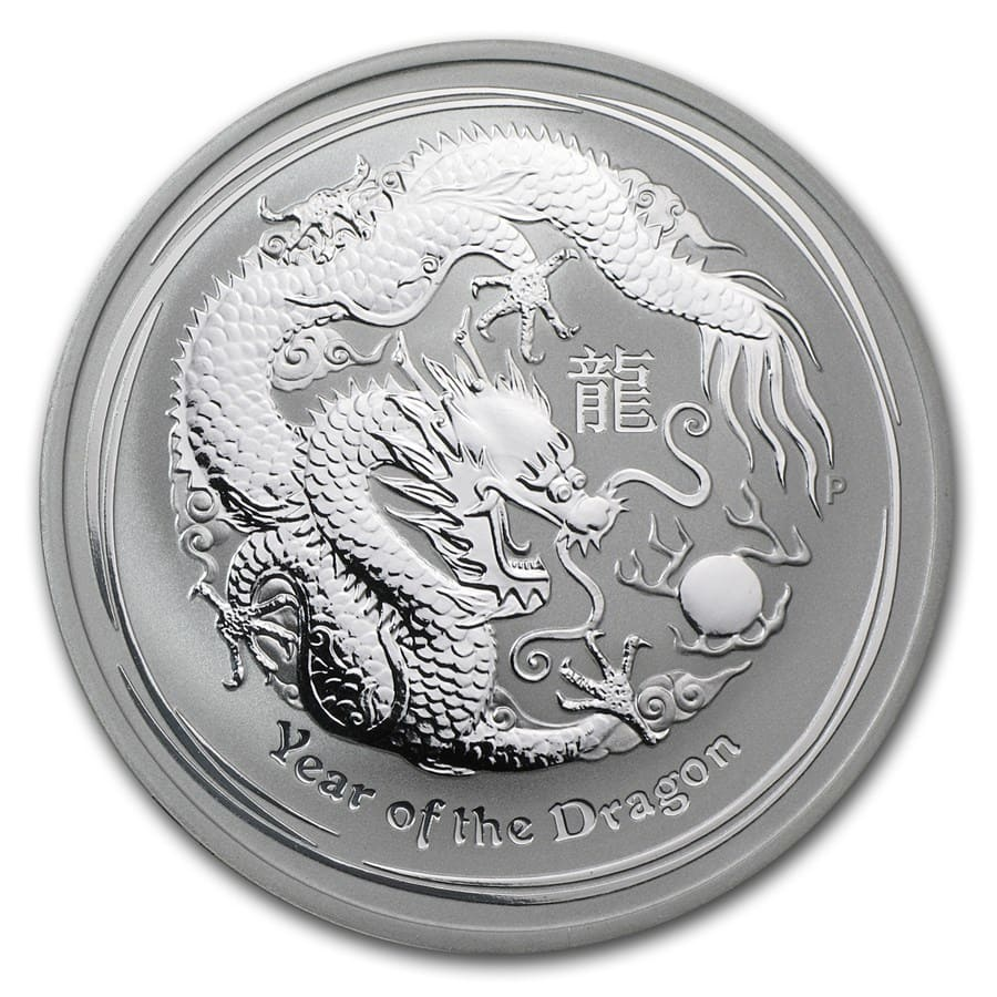 2012 1 oz Silver Australian Year of the Dragon BU