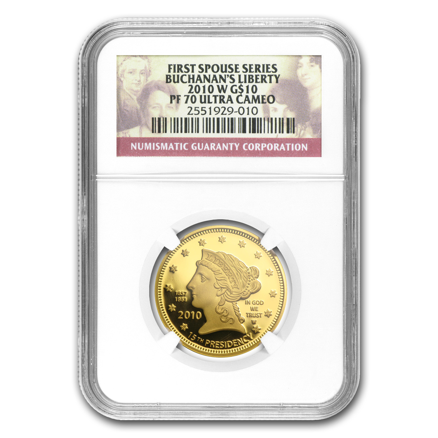 2010-W 1/2 oz Proof Gold Buchanan's Liberty PF-70 NGC