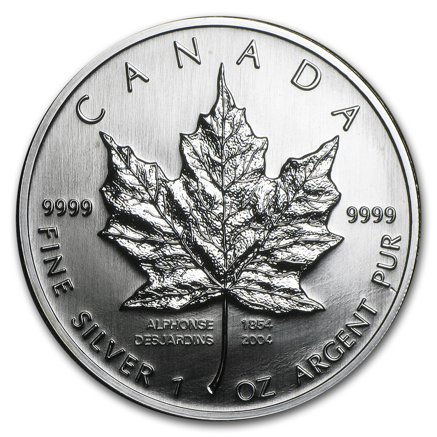 2004 1 oz Silver Canadian Maple Leaf (Desjardins 150th Ann)