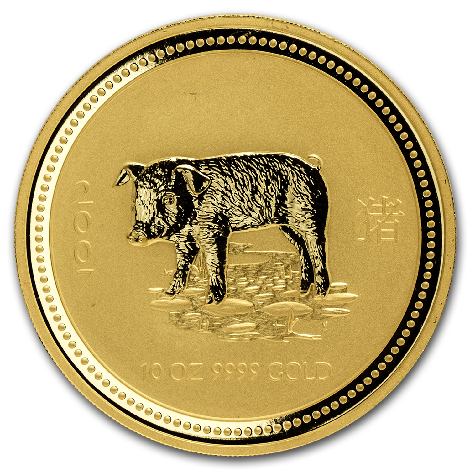 2007 10 oz Gold Lunar Year of the Pig BU (Series I)