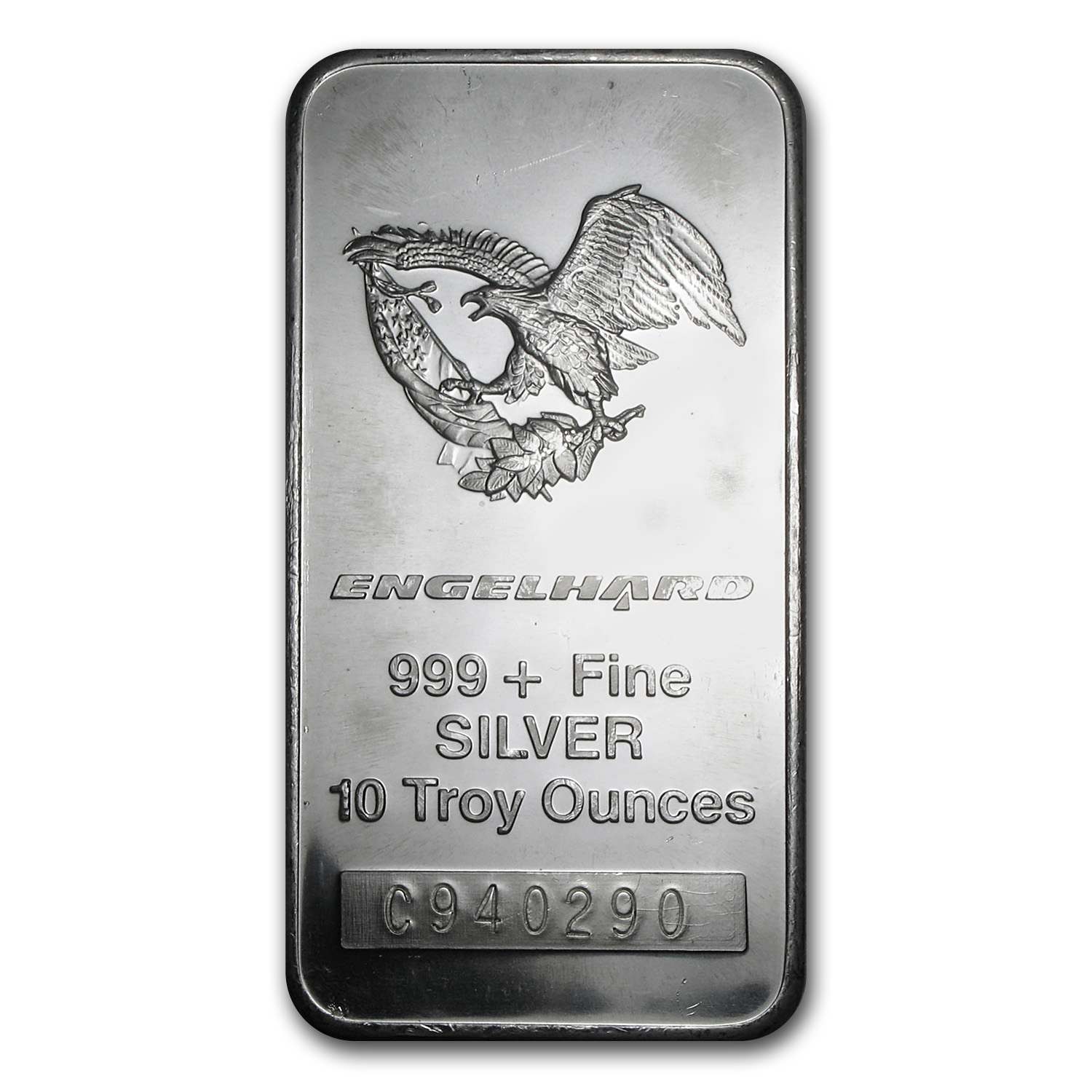 10 oz Silver Bar - Engelhard (Tall-Eagle Design)