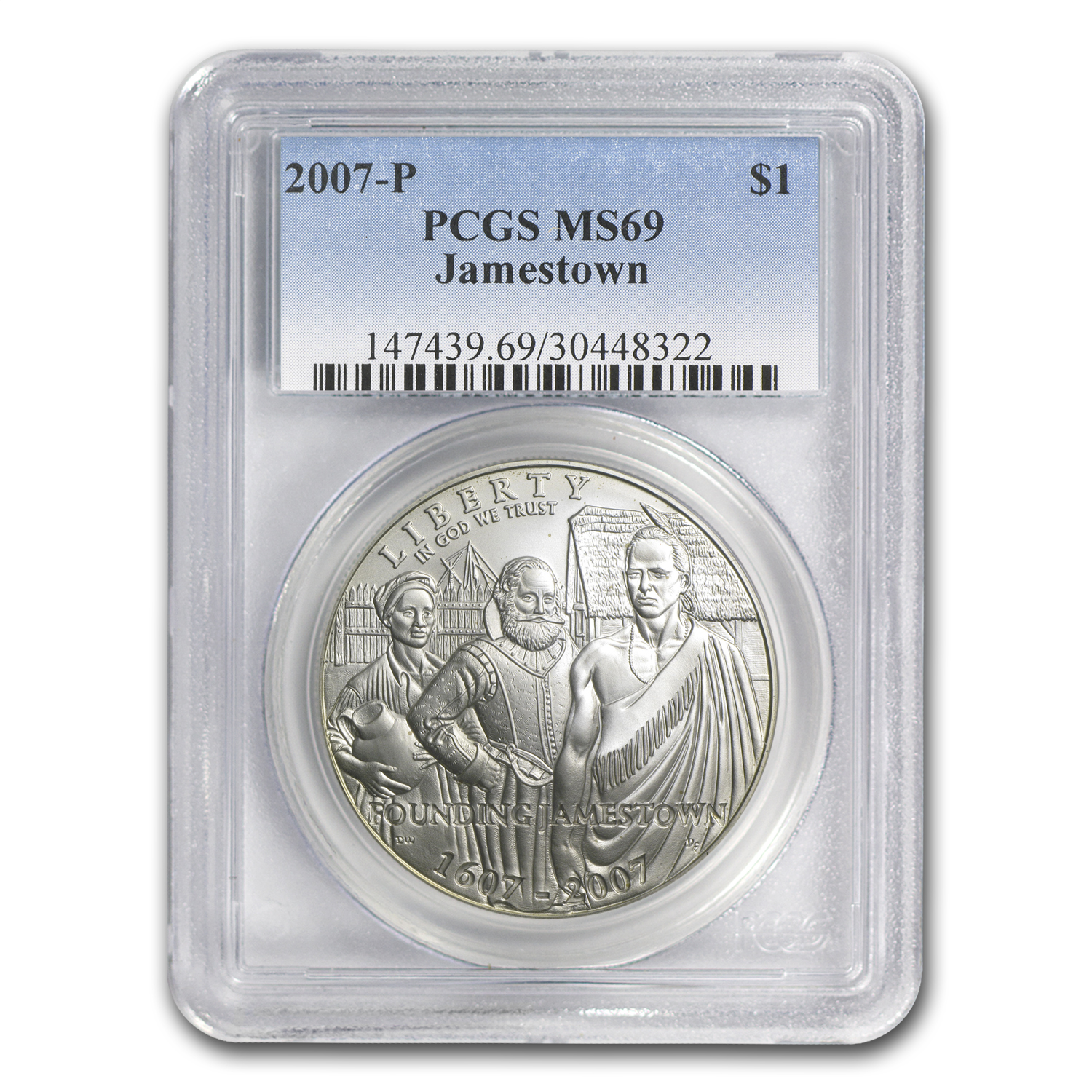 2007-P Jamestown 400th Anniv $1 Silver Commem MS-69 PCGS