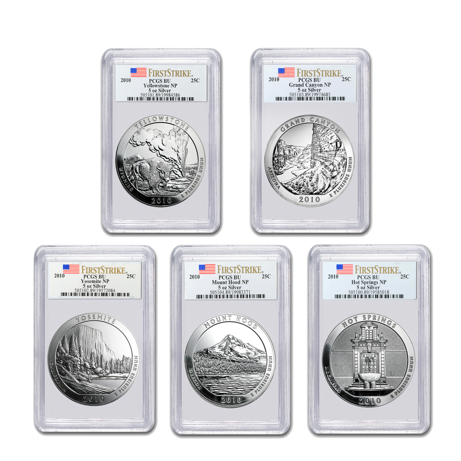2010 5 oz Silver ATB 5-Coin Set PCGS BU or Better First Strike