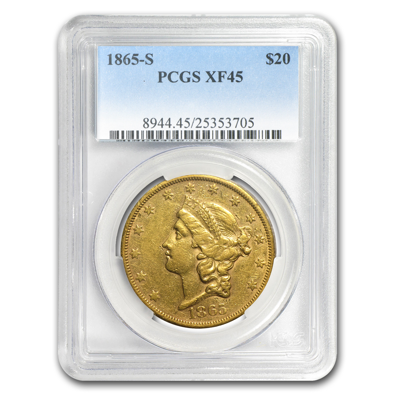 1865-S $20 Gold Liberty Double Eagle - XF-45 PCGS