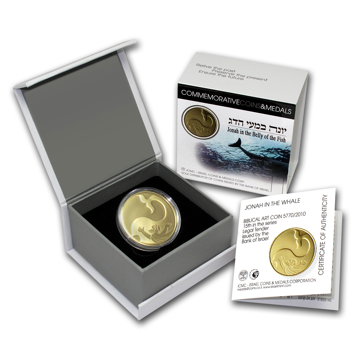 2010 Israel 1/2 oz Proof Gold Jonah in the Whale (w/Box & COA)