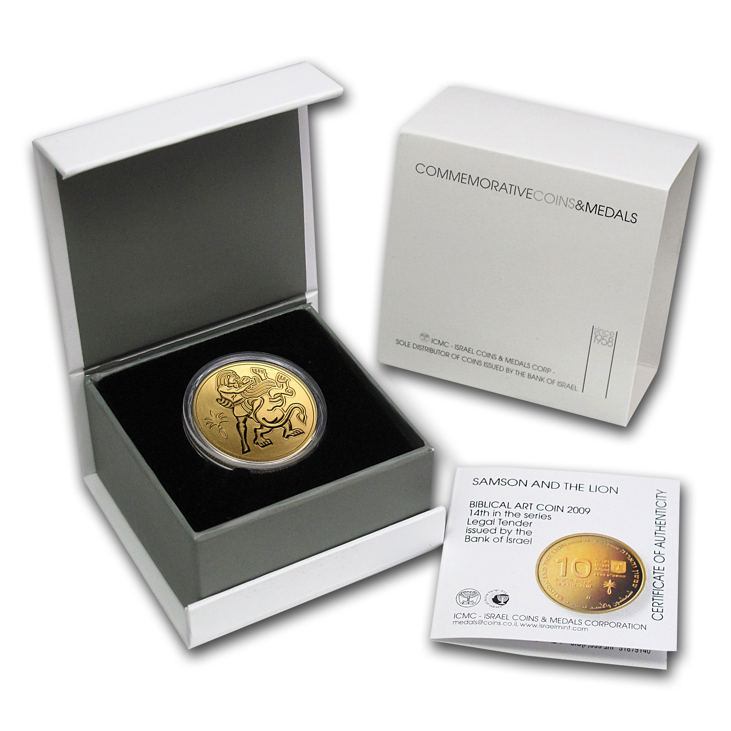 2009 Israel 1/2 oz Proof Gold Samson and the Lion (w/Box & COA)