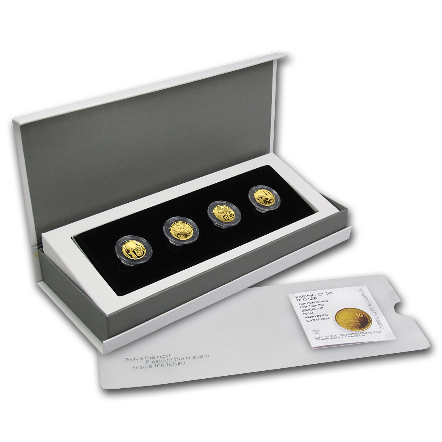 Israel 4-Coin 1/25 oz Gold Biblical Art Series Proof Set
