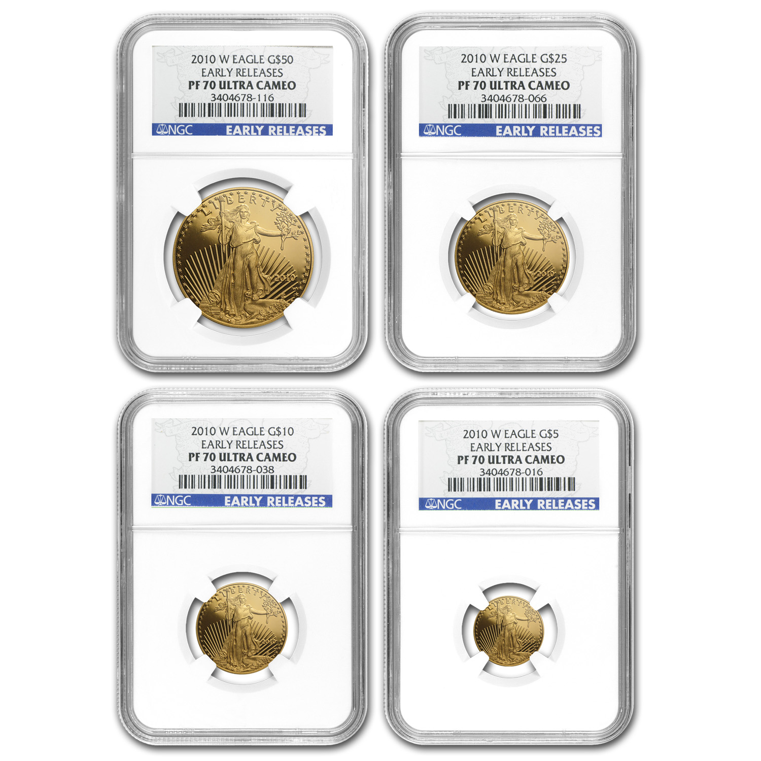 2010-W 4-Coin Proof Gold American Eagle Set PF-70 NGC (ER)