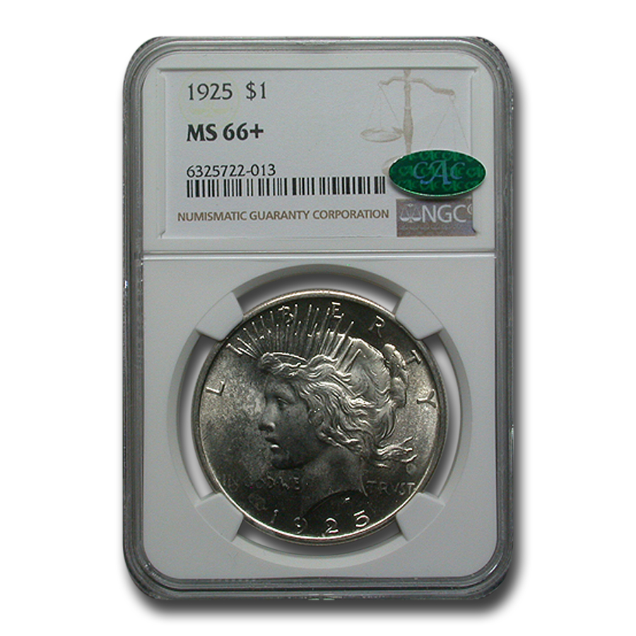 1925 Peace Dollar MS-66+ Plus NGC - CAC