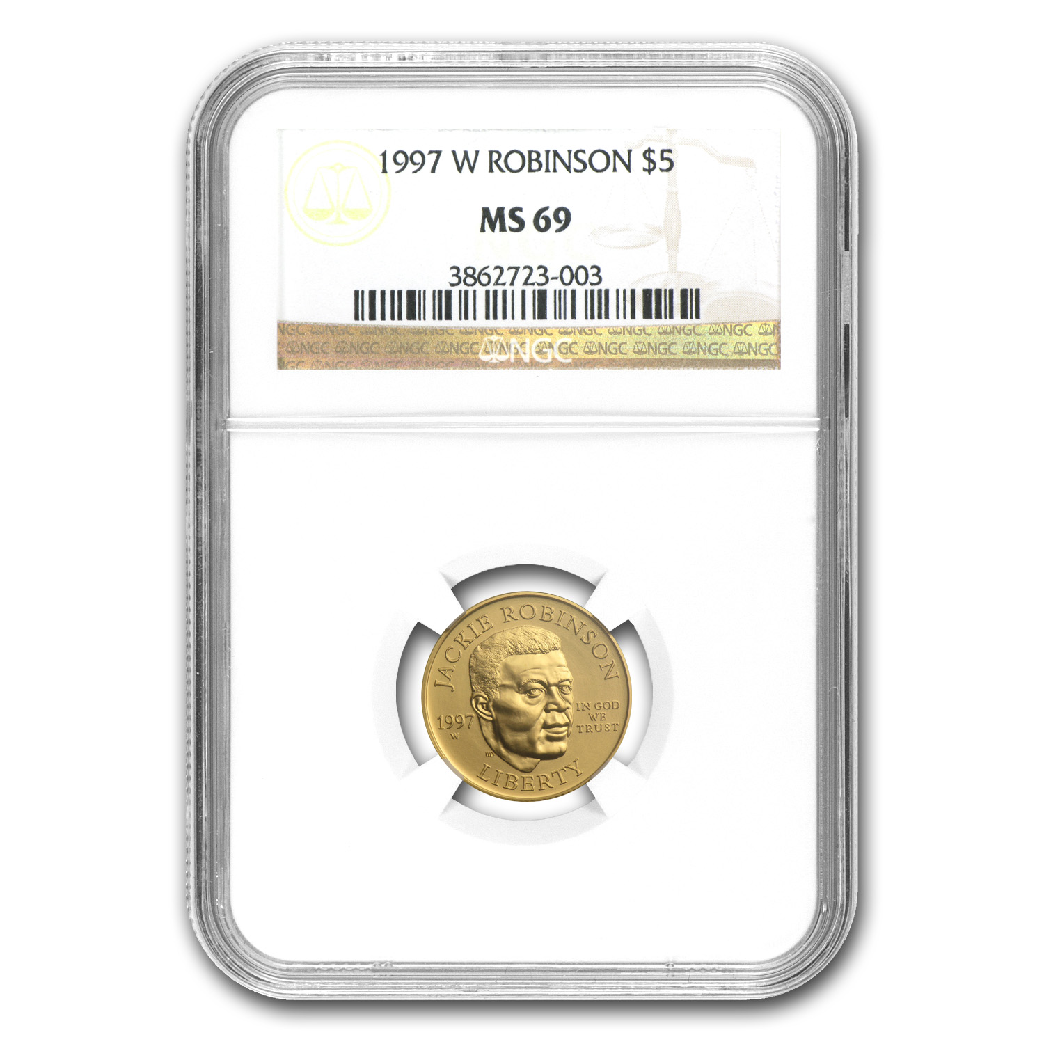 1997-W Gold $5 Commemorative Jackie Robinson MS-69 NGC