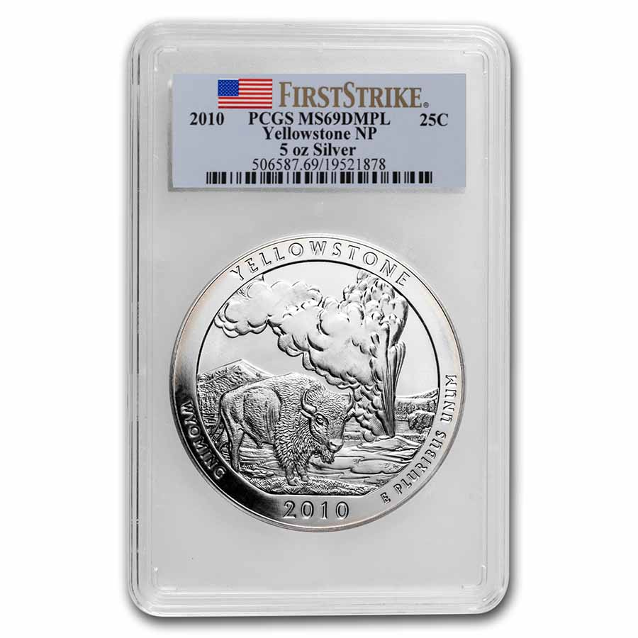 2010 5 oz Silver ATB Yellowstone MS-69 DMPL PCGS (First Strike)
