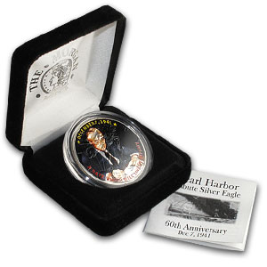 2001 1 oz Silver American Eagle (Colorized) Pearl Harbor Tribute